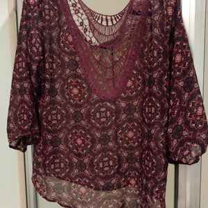 Maurices Tops - Chiffon Peasant Top w/ Crochet Details - Maurices